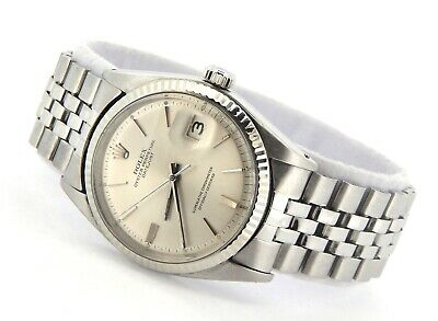 $ CDN5342.03 • Buy Rolex Datejust 1601 Mens Stainless Steel 18K White Gold Watch With Silver Dial