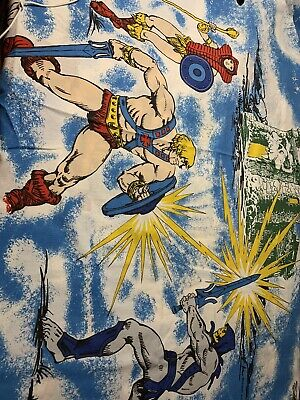 """$15 • Buy Both 80s Mattel He-man Masters Of The Universe Blue Flat Bed Sheet 65"""" X 97"""""""