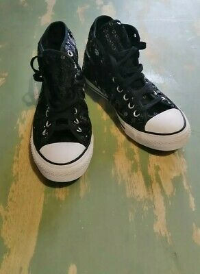 Black Sequin Converse High Tops Size 7 • 10£