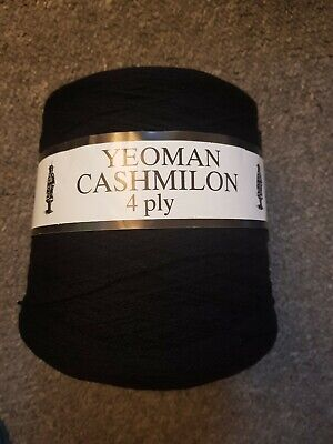 Yeoman Cashmilon 4 Ply Black Wool - 500g • 2.50£