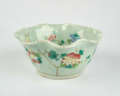 Antique Chinese Enamelled Celadon Glazed Porcelain Lotus Form Bowl • 30£