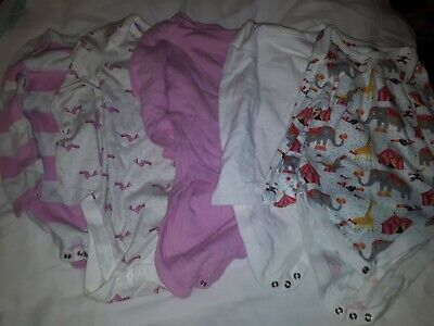 Long Sleeved Bodysuits/Vests X5 M&S Age 2-3 Pink Mix • 6£