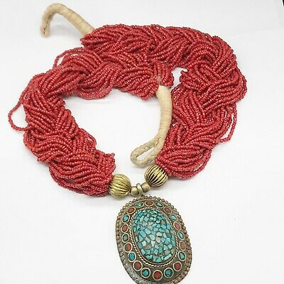 Vintage Navajo Native American Coral Turquoise Chunky Statement Necklace • 24.99£