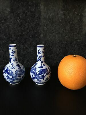 Chinese Blue And White Vases Pair - Small Singed To Base ? Rare? • 0.99£