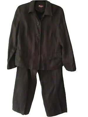 Women's Chocolate Brown 100% Linen Trouser Suit By Monsoon -size 12/14 • 6.99£