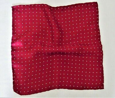 Red Silk With White Pin Dot Detail Pocket Square ~ Hand Rolled ~ Made In Italy • 9.50£