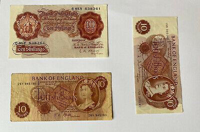 3 X TEN SHILLING NOTES L K O,BRIEN And J S FFORDE And 5 X Pound Notes • 7.50£