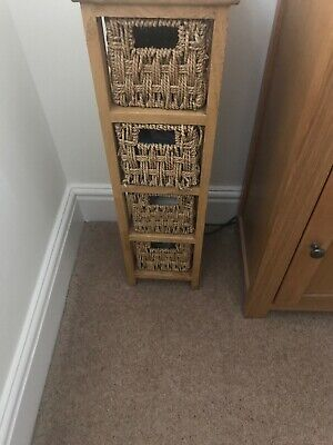 Small Wood/rattan Drawer Unit • 9.99£