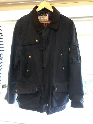 Mens Joules Landsdale Navy Wax Jacket - Size Large • 8.60£