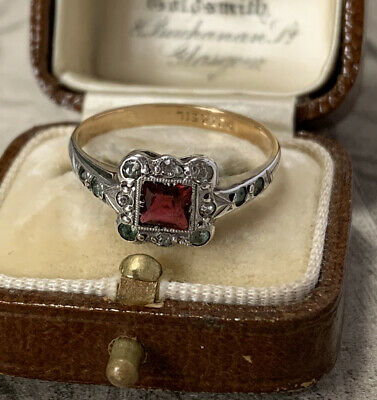 Antique Art Deco 9ct Gold And Silver Paste Ruby Paste Diamond Ring UK O 1/2 • 139£