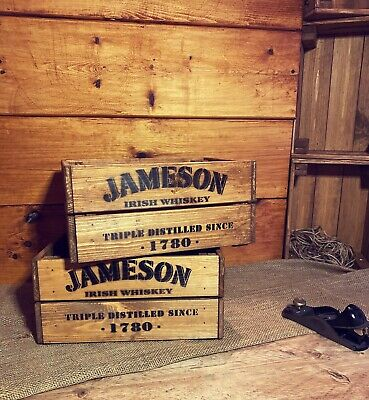 Rustic And Vintage Wooden Jameson Whiskey Crate - Box Storage • 17.99£