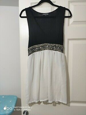 Zuppe Black White Beaded Dress Party Evening Art Deco Style Size 12 • 7.50£