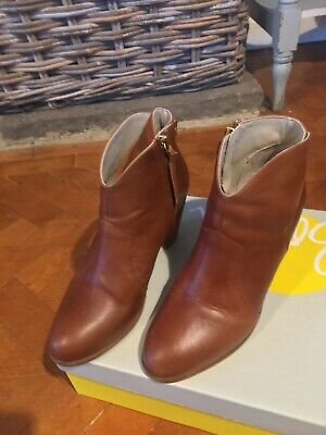 Boden Tan Leather Ankle Boots 39 Size 6 VGC • 19.50£
