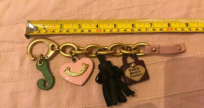 JUICY COUTURE STATEMENT CHARM BRACELET CHUNKY Charms Gold And Leather • 19.99£