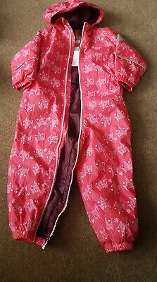 Regatta Baby Girl 24-36 Months Pink Splash / Puddle / Waterproof Suit All In On • 6.99£
