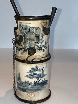 19th C Antique Chinese Water Pipe Crackle Glaze Bronze Mounts Marks Not Vase • 4.20£