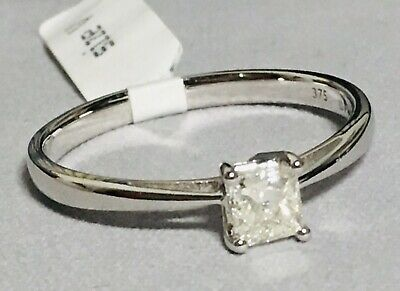 9ct White Gold 0.50ct Diamond Solitaire Ring Size V (rrp £900) • 550£