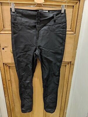 High Waist Skinny Coated Jeans Size 10 Leather Look New Look Yazmin • 3£