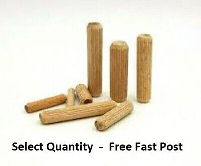 HARDWOOD DOWELS 8mm WOODEN CHAMFERED FLUTED PIN WOOD BEECHWOOD SUITS IKEA .. • 0.99£