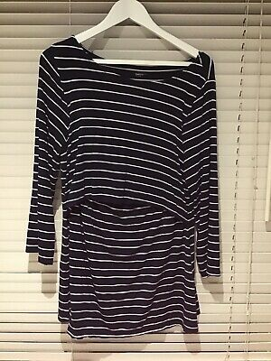 Gap Body Maternity Breastfeeding Nursing Top Dark Blue With White Stripes. Large • 4£