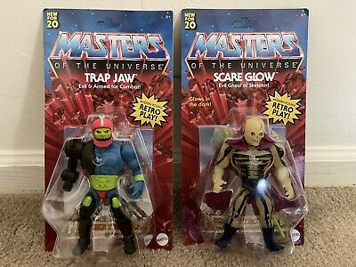 $65 • Buy Masters Of The Universe Origins - Scare Glow + Trap Jaw Lot Unpunched