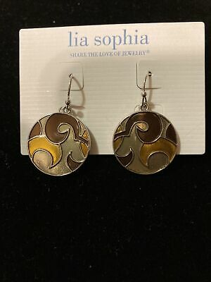 $ CDN16.40 • Buy Lia Sophia Silvertone Brown Yellow Enamel Round Dangle Earrings NWT