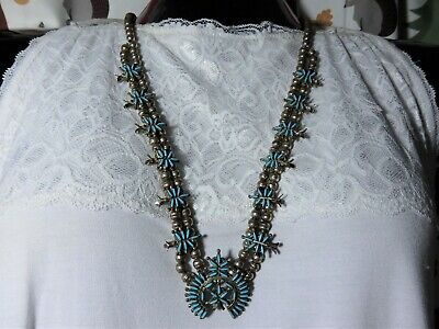 $ CDN971.64 • Buy Old ZUNI Sleeping Beauty TURQUOISE STERLING Silver 27  SQUASH BLOSSOM FoxTail🌼