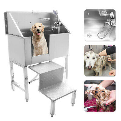 NEW 34  Stainless Steel Pet Grooming Bath Tub Dog Cat W/ Retractable Stairs • 339£