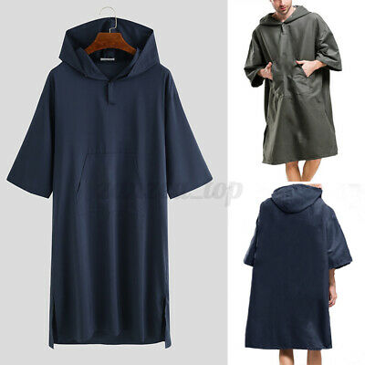 Unisex Surf Beach Bath Poncho Changing Robe Hoodies Bathing Bwach Towel Navy S • 1.68£