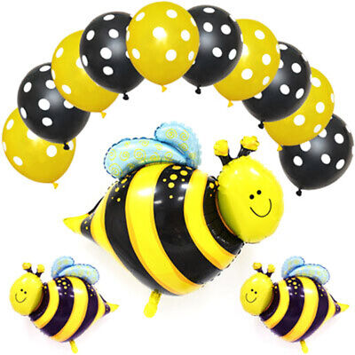 £3.07 • Buy 13X Bee Animal Foil Balloons Black Yellow Polka Dot Latex Balloon Party Deco_hg