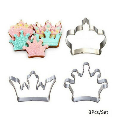 £2.59 • Buy 3X Princess Crown King  Party Cookie Cutters Cake Biscuit Baking Tool Molds D_hg