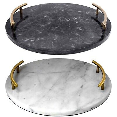 £24.99 • Buy Round Marble Serving Drink Vanity Perfume Candle Display Tray With Handles