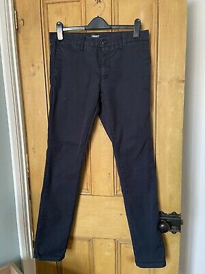 Carhartt Sid Pant Trousers Navy Blue Slim Fit Chinos 32 X 34 • 5.10£