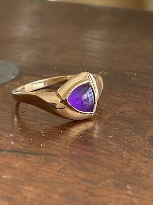 Ladies Art Deco Style Ladies 9ct 375 Amethyst Solitaire Ring  ~Size M1/2~ Fab!! • 99£