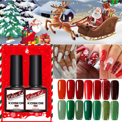 KOSKOE Christmas Gel Nail Polish 3 Colors Gift Set Red Sequins Nail Art Varnish • 4.99£