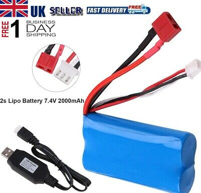 7.4V 2000mAh 2S 20C Lipo Battery T Plug W/ Charger For RC Car Off Road Truck  • 10.99£