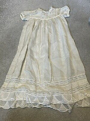 Vintage Antique Babies  Silk And Lace Christening Gown • 7£