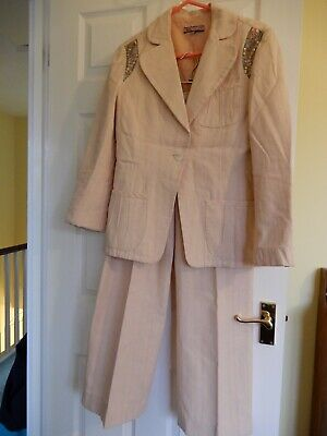Pale Pink, Cotton And Linen Trouser Suit By Identity, Size 12 • 5.50£