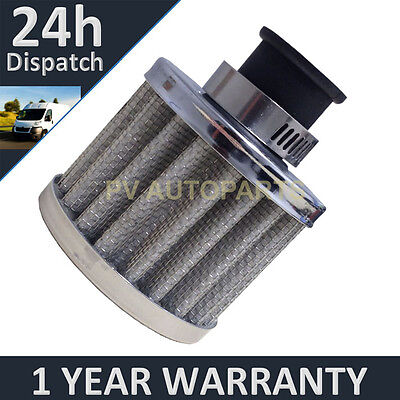 £4.99 • Buy 12mm AIR OIL CRANK CASE BREATHER FILTER MOTORCYCLE QUAD CAR SILVER ROUND