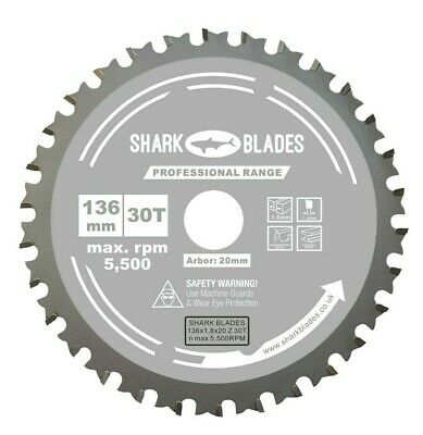 £12.95 • Buy Circular Saw Blade Thin Kerf 136mm X 20 X 30T For Cordless Saws, For Metal Cuts