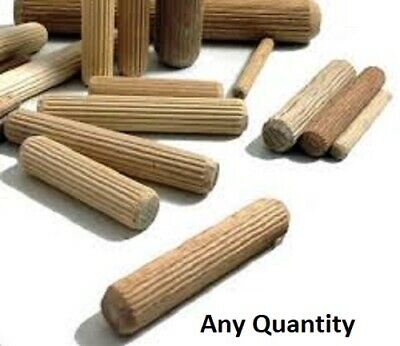 HARDWOOD DOWELS 8mm WOODEN CHAMFERED FLUTED PIN WOOD BEECH SUITS IKEA CHOOSE AMT • 0.99£