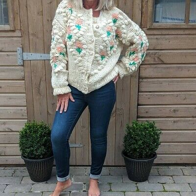 Ladies Chunky Hand Knitted Rose Cardigan In Cream • 45£
