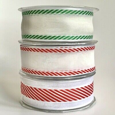 £2.50 • Buy Wired Candy Stripe Sheer Ribbon Red / Green Christmas Card Making 38mm Wide