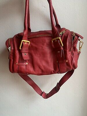 AU35 • Buy Oroton Red Leather Three Compartment Bag