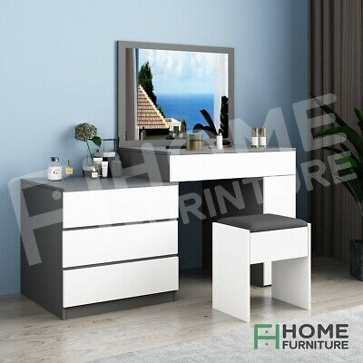 AU249.50 • Buy Modern Dressing Table Stool Set 4 Drawers Makeup Jewellery Cabinet White&Gray