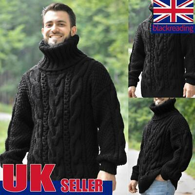 Men Winter Chunky Cable Knit Jumper Roll Turtle Neck Pullover Knitwear Sweater • 11.99£