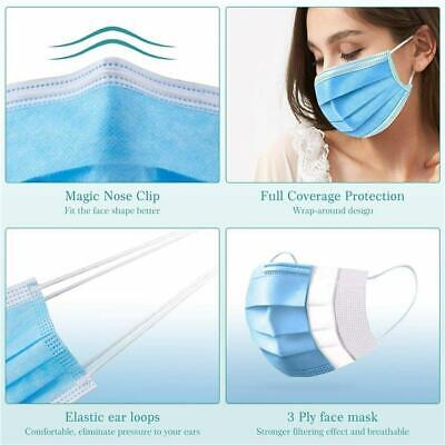 3 Ply Disposable Face Mask Dustproof Breathable Face Masks Protection 10/50/100 • 6.99£