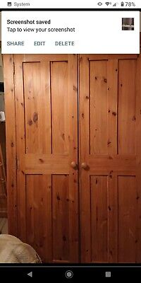 Solid Pine Double Wardrobe Waxed Vintage Style With Base And Top Plynth  • 50£