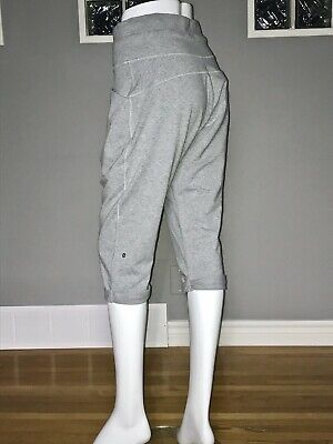 $ CDN66.30 • Buy Lululemon Liberty Crop 6 Heathered Fossil Gray Drop Crotch Pant Relaxed Fit Cozy