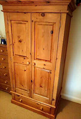 Hand-made Antique Pine Double Wardrobe • 100£